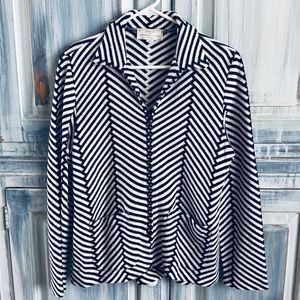 French Rags Black and White Zig Zag Weave Jacket